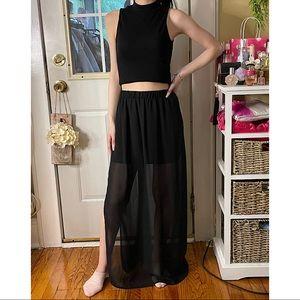 Forever21 Maxi Chiffon Black Skirt